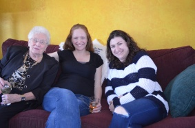 Betty, Julie and Melissa relaxing on the couch.