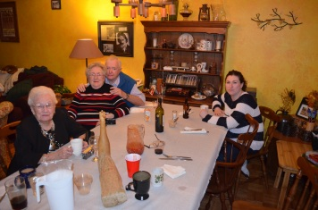 Betty, Mom, Dad and Melissa enjoying an after dinner coffee.