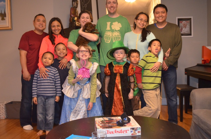 St. Patrick's Day get together with friends. Back L-R: Brian, Joselyn, Melissa with Marley, Peter, Laney, Alberto. Front L-R: Jayden, Anthony, Abby, Aiden, Miles, Andre.