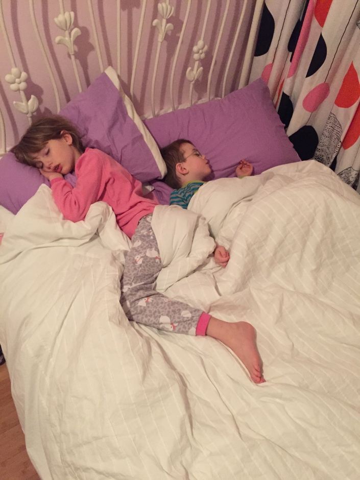 Abby and Aiden having a weekend sleepover.