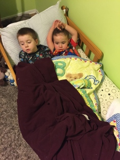 Aiden and Macklan having a sleepover.