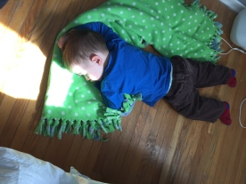 Macklan fell asleep after playing with Abby and Aiden all weekend.