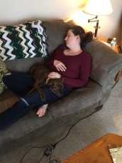 Melissa sleeping with Marley after a busy Easter Weekend.