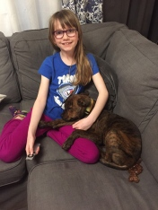 Marley sitting with Abby