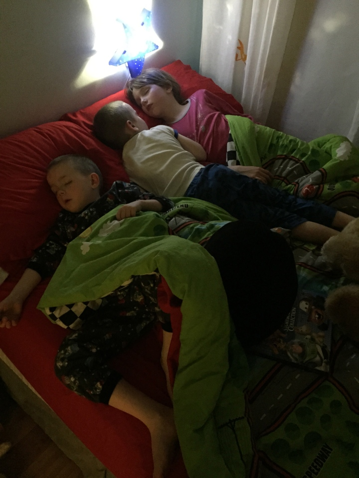 Aiden, Abby and William sleeping over.