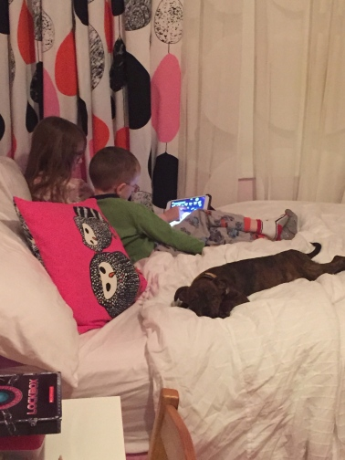 Marley sleeping with Abby & Aiden while they watch a video in the iPad.