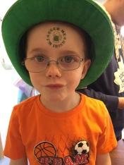 Aiden celebrating St. Patrick's Day 2015.