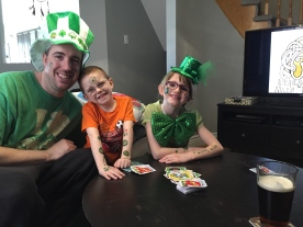 Peter, Aiden and Abby celebrating St. Patrick's Day 2015.