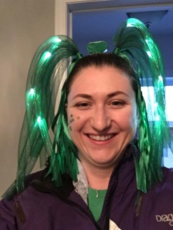 Melissa celebrating St. Patrick's Day 2015.