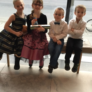 Ava, Abby, Flat Stanley, Aiden and William at the Alice in Wonderland ballet.
