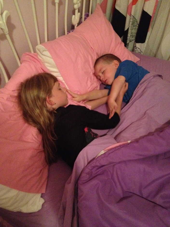 Abby and Aiden enjoying a weekend sleepover.
