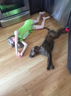 Abby resting with Marley in the kitchen.
