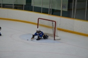 Abby stopping a shot when she played goalie. She got a shutout.