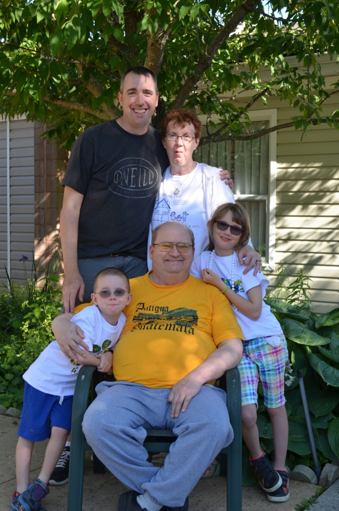Family portrait with new trip that I got for Father's day Abby, Grandpa, Aiden, Peter and Grandma.