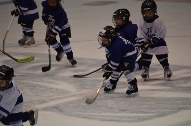 Aiden chasing after the puck during the game.