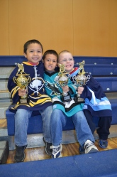 Jayden, Miles and Aiden with their year-end trophy's.
