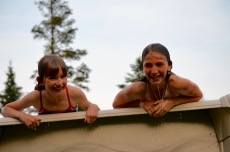 Abby and Sage hanging out in the pool.