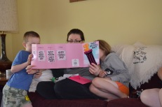 Abby and Aiden helping Mommy reading her Mother's Day card from me!!!