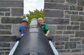 Aiden and Colton at a cannon overlooking the St. Lawrence