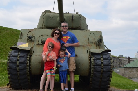 The Cain's in front of a tank at the Citadel
