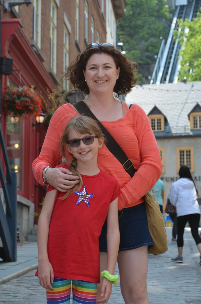 Melissa with Abby in downtown Quebec.