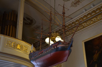 Ship hanging in Cathedral of Holy Trinity Anglican Church in downtown Quebec.