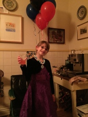 Abby with her New Year's Wine (Italian Soda)