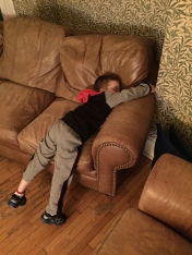 Aiden asleep on the couch at 1:00am