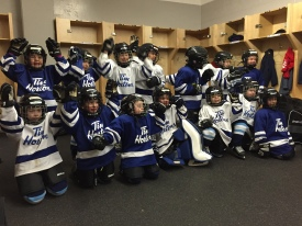Aiden's team after playing the Steelhead game.