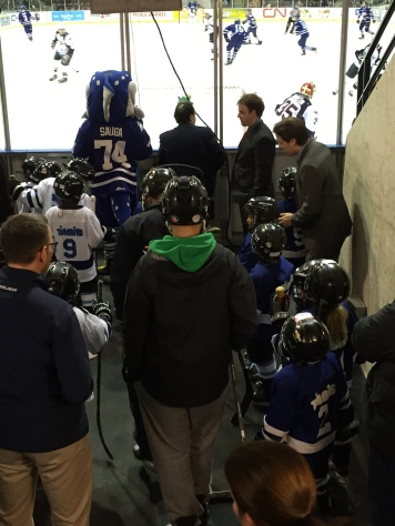 Aiden getting ready to go on the ice.