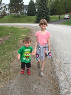 Abby walking with Macklan on Mother's Day Sunday.