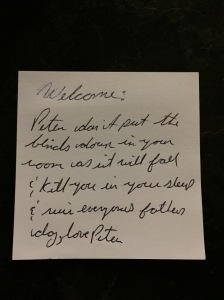 Note that Peter left on the counter for me when I arrived on Friday evening :)