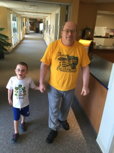 Aiden and Grandpa out for a walk.