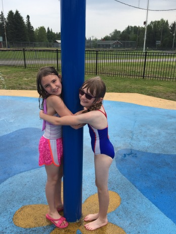 Sage and Abby at the Splash Pad