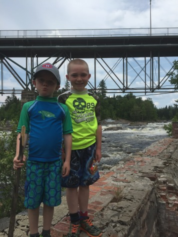 Aiden and Colton at Jacques Cartier river