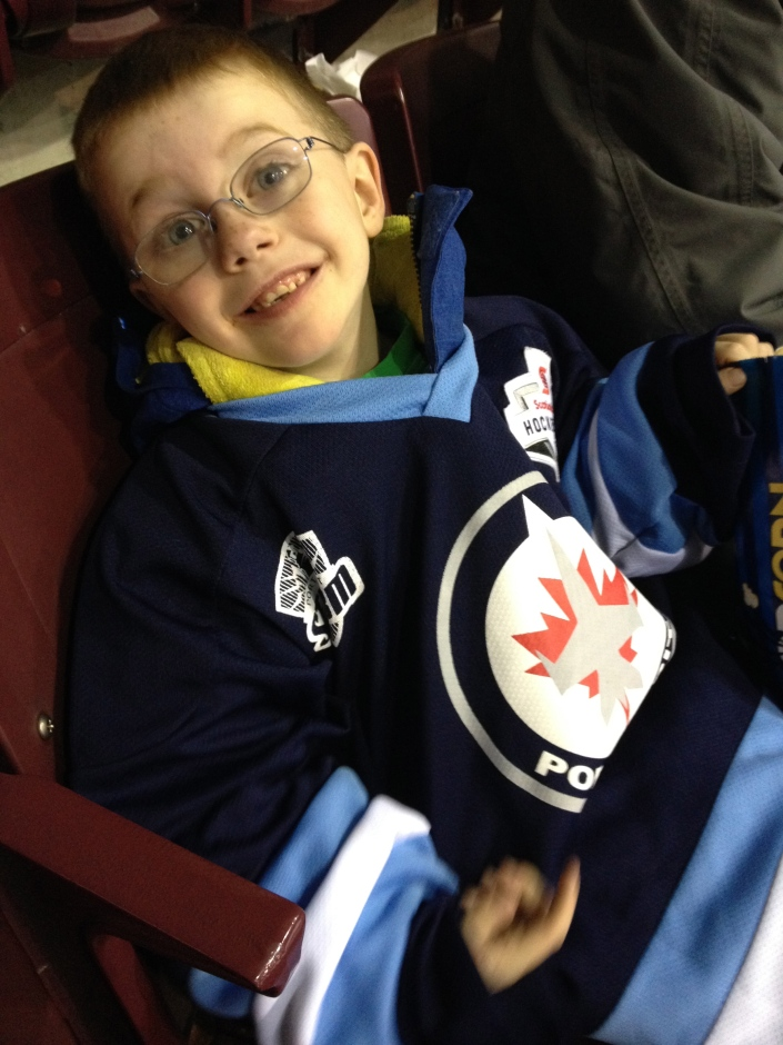 Aiden at Port Credit night at the Steelheads game.