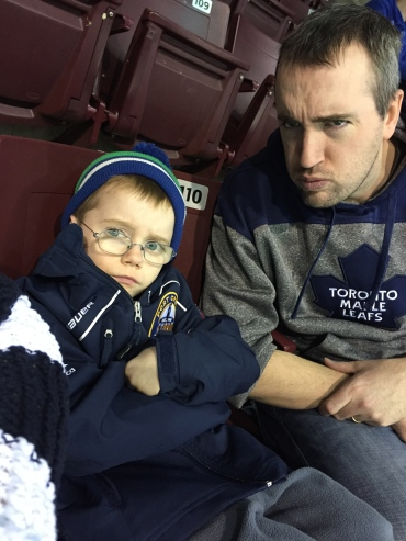 """Aiden and Dad with """"angry cool face."""" Actually Aiden just didn't feel like smiling so I tried to look like him."""