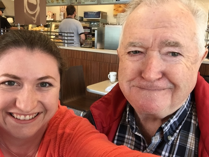 Melissa with Dad at Tim Hortons
