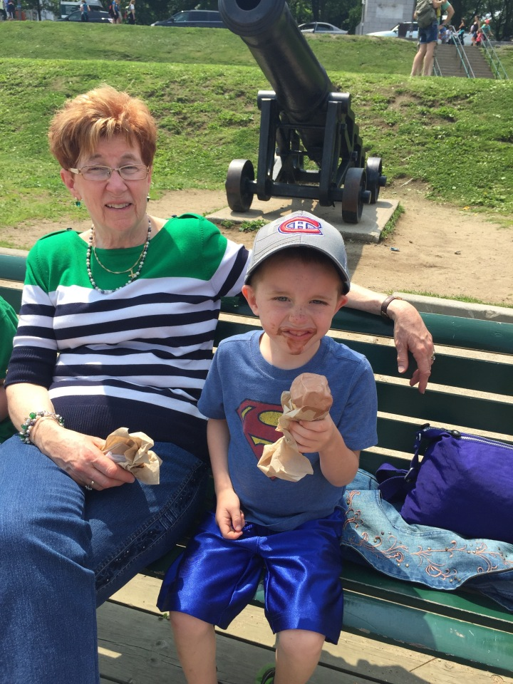 Aiden enjoying his ice cream cone with Auntie Cathy