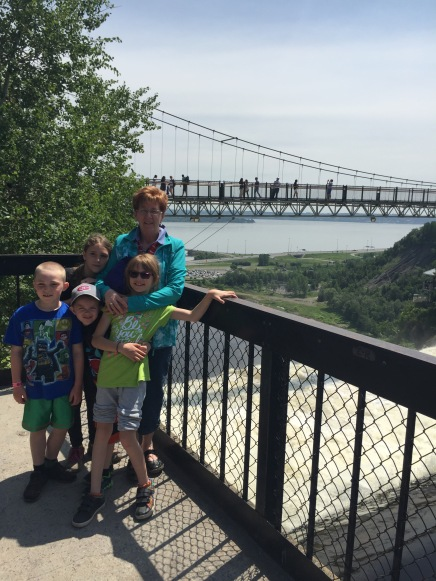 Auntie Cathy with Colton, Sage, Aiden and Abby at Montmorency Falls.