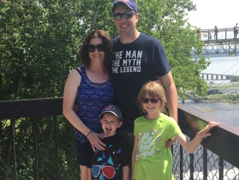 Melissa, Peter, AIden and Abby in front of Montmorency Falls.