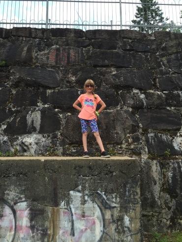Abby at damn at Jacque Cartier River.