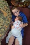 Aiden holding Eva