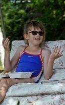 Abby enjoying lunch between swims.
