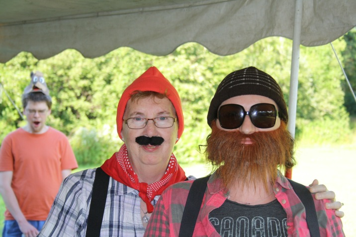 Melissa & her Mom dressed as lumberjacks