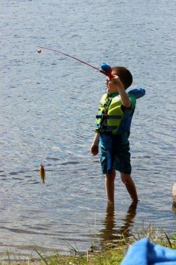 Aiden with his fish