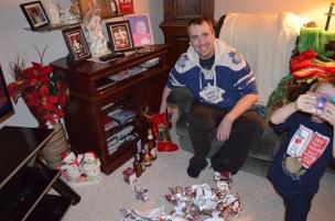 Peter opening his stocking