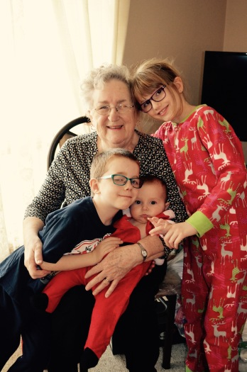 Mama with Aiden, Eva and Abby.
