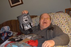Bruce holding a pic of Jackie taken during Christmas in August by Shawn.