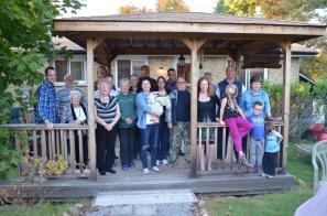 Front (L-R): Rob, Betty, Mom Linda, Melissa with Eva, Susan, Mark, Julie, Abby, Jane, Aiden, Macklan. Back (L-R): Bob, Peter, Jason, Peter's Uncle & Aunt, Susa, Peter, Dad & Craig